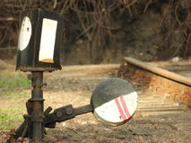 The old railway signs. Old railway signs, track switch Royalty Free Stock Photo