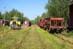 Old railway station of the city of Porvoo, Sunny day in August Stock Images