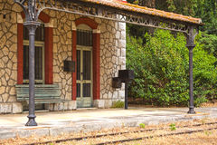 Old Railway station. Detail of an old, picturesque railway station at Peloponnese, Greece Stock Image
