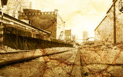 Old railway station grunge background Royalty Free Stock Photos