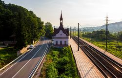 Old railway station at sunrise. Beautiful scenery in mountains. location Karpaty, TransCarpathia, Ukraine Stock Photography