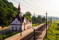 Old railway station at sunrise. Beautiful scenery in mountains. location Karpaty, TransCarpathia, Ukraine stock photos