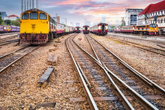 Old railway station in sunset Stock Images