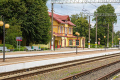 Old railway station in the town of Svetlogorsk. Stock Photo