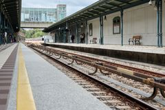 An old railway station in Vienna. Yellow separating strip.  Royalty Free Stock Photography