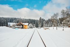 Old railway station in winter Royalty Free Stock Photography