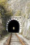 Old railway stone tunnel closeup Stock Photo