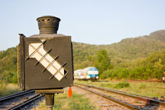 Old railway switching device Stock Photo