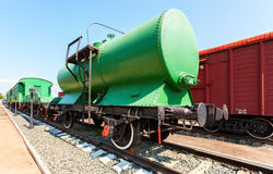 Old railway tank at the Samara Railway Museum in sunny day Stock Image
