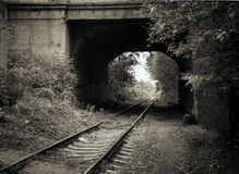 Old railway track. In artistic conversion Stock Photo
