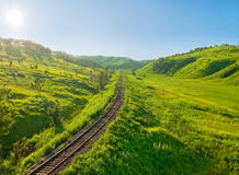 Old railway track on the morning hill landscape Stock Photography