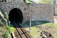 Old railway track and tunnel Stock Photos