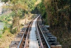 Old railway tracks along River Kwai, Kanjanaburi. Province, Thailand Stock Image