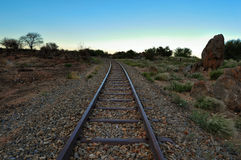 Old railway tracks and evening sky Royalty Free Stock Image