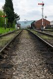 Old railway tracks and signals Stock Photo