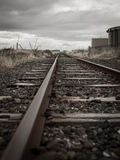 Old railway tracks in the village of Bluff, New Zealand Royalty Free Stock Photos