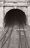 An old railway tunnel. Mouth of an old railway tunnel stock photo