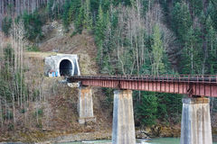 Old railway Tunnel under mountain Royalty Free Stock Photos