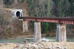 Old railway Tunnel under mountain Stock Photos