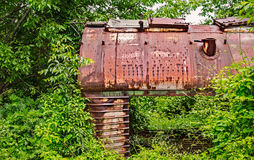 Old railway wagon captured by vegetation. Royalty Free Stock Photography