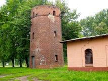 Old railway water tower of Fishkhauzen. Primorsk, Kaliningrad region 1900.  stock photo