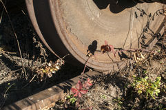 Old railway wheel and rail Royalty Free Stock Photos