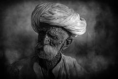 Old Rajasthani man against the background of his camels Royalty Free Stock Image