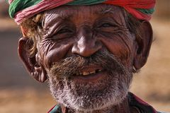 Old Rajasthani man with turban.Festival-Pushkar Royalty Free Stock Images