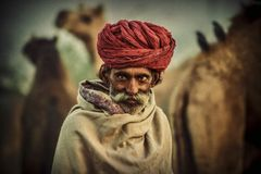 Old Rajasthani man with turban.Festival-Pushkar. Portrait indian man attended the annual Pushkar Camel Mela Stock Photos