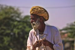 Old Rajasthani man with turban.Festival-Pushkar Stock Photos