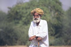 Old Rajasthani man with turban. Stock Photography