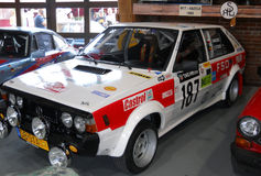 Old rally car, Polish FSO Polonez. Old restored car, FSO Polonez rally Royalty Free Stock Photo