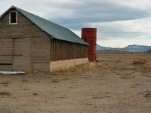 Old ranch buildings in Western Nevada. Old barn and silo on a ranch in Western Nevada Stock Image