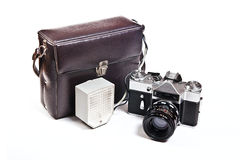 Old range finder vintage camera on white background. Royalty Free Stock Images