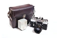 Old range finder vintage camera on white background. Royalty Free Stock Images