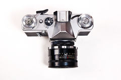 Old range finder vintage camera on white background. Stock Photos
