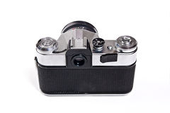 Old range finder vintage camera on white background. Royalty Free Stock Photo