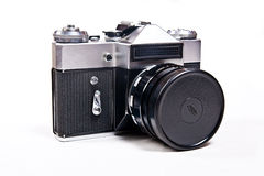 Old range finder vintage camera on white background. Stock Photography
