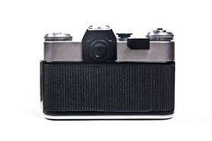 Old range finder vintage photo camera on white background. Royalty Free Stock Photography