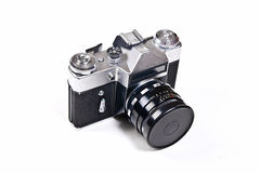 Old range finder vintage photo camera on white background. Stock Photos