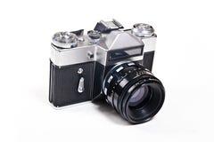 Old range finder vintage photo camera on white background. Royalty Free Stock Image