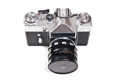 Old range finder vintage photo camera on white background. Royalty Free Stock Photo