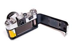 Old range finder vintage photo camera on white background. Royalty Free Stock Images
