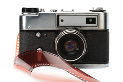 Old rangefinder camera and film Royalty Free Stock Photography