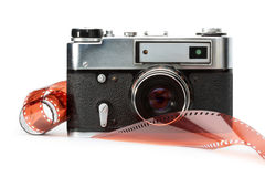 Old rangefinder camera and film Royalty Free Stock Photos