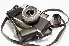 Old Rangefinder Camera. An old rangefinder camera with a film role Royalty Free Stock Photo