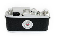 Old Rangefinder Camera Isolated, Back View Stock Photos