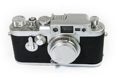 Old Rangefinder Camera with Lens Cap Stock Photo