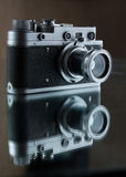 Old rangefinder camera. Reflection. Stock Images