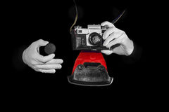 Old rangefinder vintage and retro photo camera with  color effect Royalty Free Stock Photos